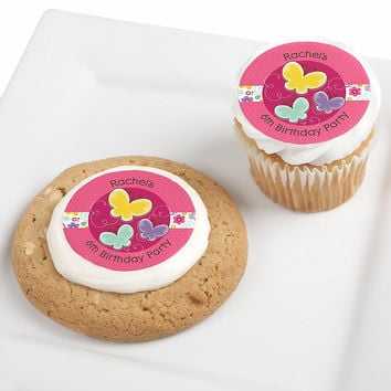 Playful Butterfly and Flowers - Personalized Birthday Party Edible Cupcake Toppers - 12 ct