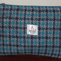 Harris Tweed bag, turquoise hound's tooth check zipped coin pouch, gadget pouch, key and phone pouch, small make up bag, cosmetic pouch