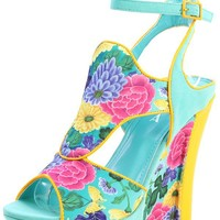 Alba Danika Blue Yellow Floral Ankle Strap Platform Wedges and Shop Shoes at MakeMeChic.com