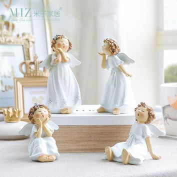 Miz 1 Piece Singing Angel Lovely Ceramic Figurine Singer Girl Handmade Craft Home Decoration Statue Birthday Gift for Family