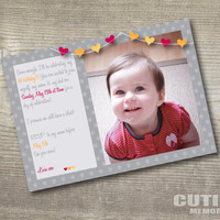 Custom printable birthday invitation - Heart bunting model