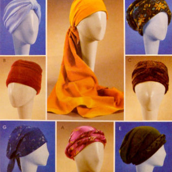 Turbans Headwraps Head Scarf Hats Chemo Caps Pattern McCalls 4116 Sewing Patterns 7 Styles of Close Fitting Headwear Uncut Size S M L