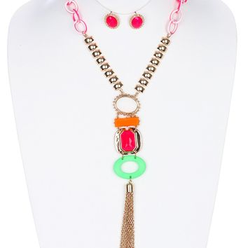 Neon Chain Tassel  Faceted Homaica Stone Lucite  Setting Necklace Earring Set