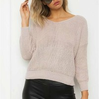 Pure Color Long Sleeves Straps Back V-neck Sweater