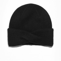 & Other Stories | Wool Cable Knit Beanie | Black
