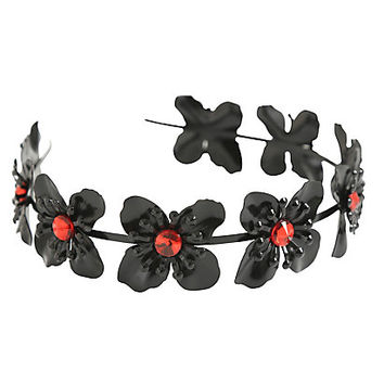 Blackheart Black Flower Gem Headband