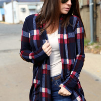 Plaid Elbow Patch Cardi