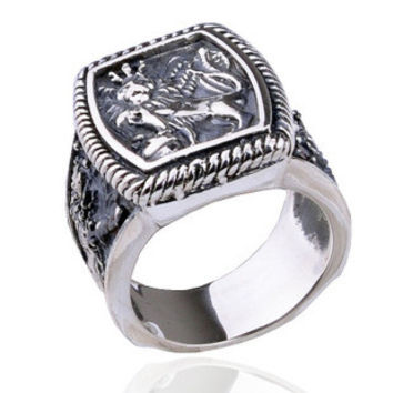 .925 Thai Silver Men's Sterling Jewelry Thick Lion Ring-SIZE 9