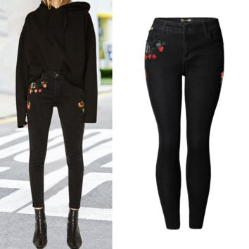 New style embroidered trousers fashionable denim pencil pants large size black jeans female