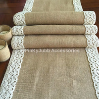 rustic wedding burlap table runner with natural color cotton lace trim, rustic wedding, engagement table decoration runner