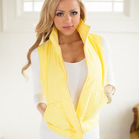 Bright and Shining Yellow Puff Vest