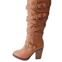 Dollhouse Crisscrossing Belted Chunky Heel Boots - Chestnut