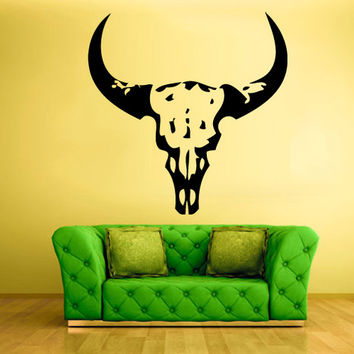 rvz1036 Wall Vinyl Sticker Bedroom Decal Skull Bull Cow
