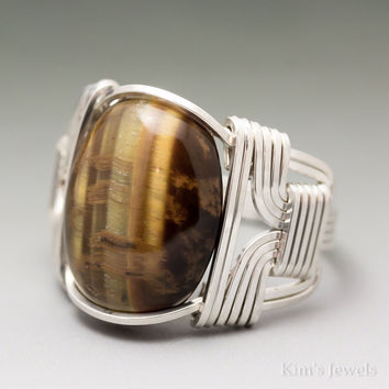 Golden Tigers Eye Cabochon Sterling Silver Wire Wrapped Ring