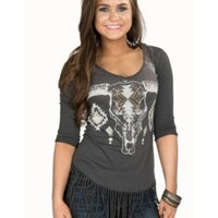Rock & Roll Cowgirl Women's Grey Knit with Aztec Skull Print & Fringe 3/4 Sleeve Top