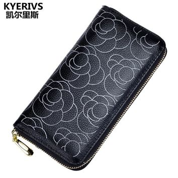 Genuine Leather Women Wallet Female Coin Purse Wallet Women Long Floral Leather Wallet Purse Phone Card Holders Clutch Party Bag