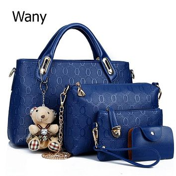Women's bags 4 pcs/set 2017 spring and summer pu leather women's handbag trend large bag handbag one shoulder cross-body bag