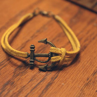 Antique Bronze Anchor Bracelet Guys