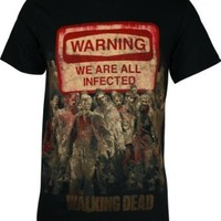 The Walking Dead Warning Sign Mens Black Tee