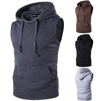Mens Hoodie Sleeveless Muscle Tank Top Bodybuilding Gym Workout Vest T Shirt Tee