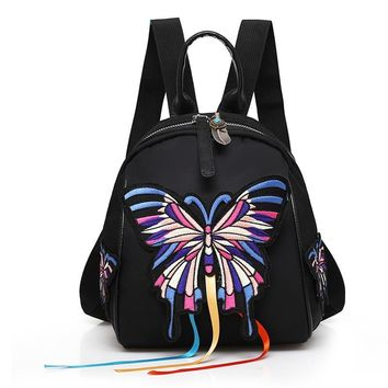 STYLEDOME Shoulder Bag Female Waterproof Nylon Embroidered Butterfly Travel College Mini Backpack Women