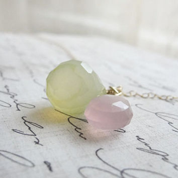 Lavender and green chalcedony necklace pink and by OliveYewJewels