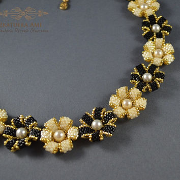 SUMMER SALE Flower Gold Swarovsky Black Necklace, gift for her, pink, gray, necklace long, lariat,