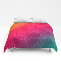 Colorful Galaxy Comforters by Texnotropio