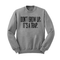 """Do Not Grow Up"" Pink Letters Print Sweater  12757"