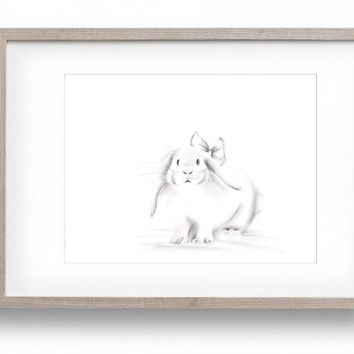 Bunny Nursery Art, Grey and White Nursery, Baby Girl Nursery Art, Baby Animal, Pencil Drawing, Sketch, Art Print, White bunny, Childrens Art