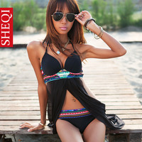 HOT Women sexy Cross Front Sheer Bohemian Tankini Bikini Set Bathing Suit
