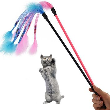 Hot Flexible Pet Cat Tease Stick Toy Cute Design Feather Teaser Wand Plastic Toy Funny Kitten Game Products