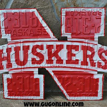Rustic Metal Nebraska Huskers Plate Wall Decor
