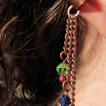 Copper ear cuff, a boho style non pierced ear cuff with glass beads, adjustable ear cuff, unisex jewelry, simple jewelry