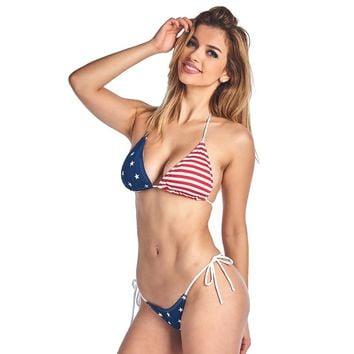 Women's Made in USA Juniors USA Flag 2-Piece Bikini Thong Swimwear