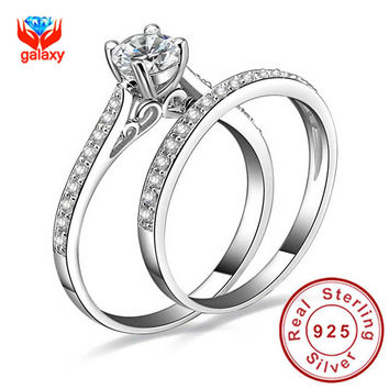 1ct CZ Diamond Engagement Ring Set 925 Sterling Silver Rings For Women Band Wedding Rings Promise Ring Bridal Jewelry ZR143