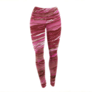 "Ebi Emporium ""Agate Magic - Hot Pink Red"" Magenta Abstract Yoga Leggings"