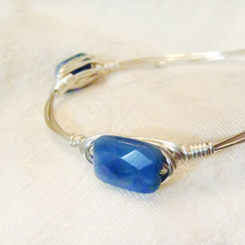 Blue Sodalite Gemstone Wire Wrapped Bangle - Faceted Semi Precious Natural Stone on Silver