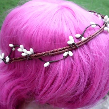 Floral Wedding Crown, Vine and Berries, Natural, Wedding, Bridal, Headband, Circlet, Bohemian, head wreath, Twisted, Simple Circle Crown