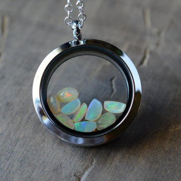 Ethiopian Opal Necklace. Gemstone Locket. October Birthstone. Natural Opal Locket Pendant. Ethiopian Gemstone Locket Necklace. OOAK Pendant