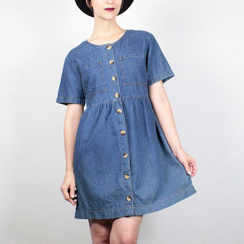 Vintage 90s Dress Blue Blue Denim Dress Babydoll Dress Worn Faded Chambray Dress Mini Dress 1990s Dress Soft Grunge Dress S Small M Medium