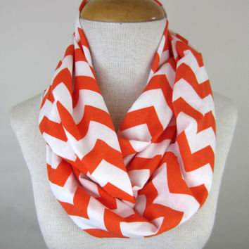 Orange Chevron Scarf - Orange and White Scarf - Chevron Infinity Scarf