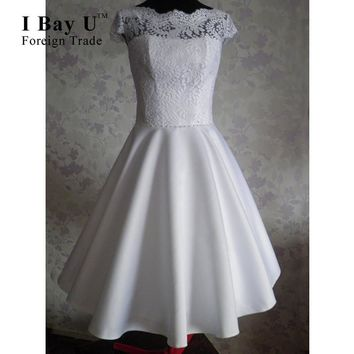 IBayU Pearly White Satin Cocktail Dresses 2016 Evening Party Lace Vestidos De Cocktel Cortos 2016 Emerald Green Cocktail Dresses