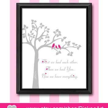 custom baby quotes baptism gift bird family in a tree nursery wall art baby girl nursery first we had quote new baby gift baby wall decor