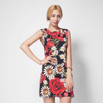 Daisy Poppy Print Sleeveless Dress 11118