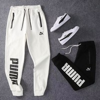 PUMA New fashion letter print and embroidery letter sports leisure couple pants trousers White