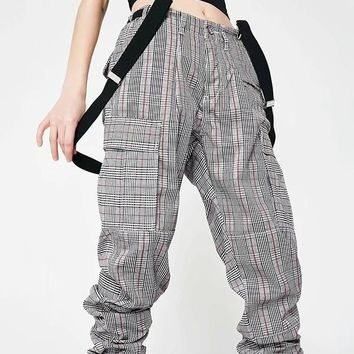 New Grey-Black-Pink Plaid Pockets Belt Buttons Loose High Waisted Streetwear Fashion Long Cargo Overall Pants