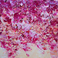 Pink Autumn Acrylic Palette Knife Painting on Canvas