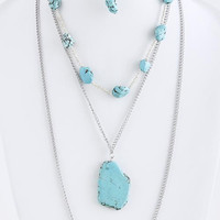 FAUX GEM LINK LAYER NECKLACE SET