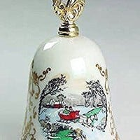 Vintage 1980 Gorham Fine China Porcelain Christmas Scene Bell - Christmas in the Country